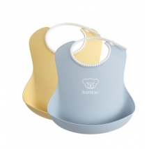 BabyBjörn μαλακή σαλιάρα 2-pack Powder - yellow/blue 046341
