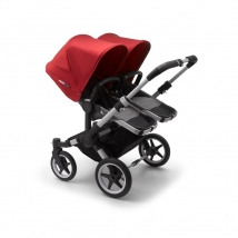 Bugaboo Donkey³ Twin παιδικό καρότσι για δίδυμα - Grey melange/Red