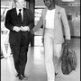 1979 29.06 laurie cunningham and director john gordon at heathrow airport daily mail pic