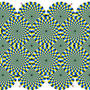 Optical illusion spinning spirals