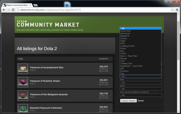 Steam Market search