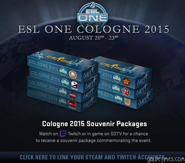 Сувенирные пакеты ESL One Cologne 2015 через связанные аккаунты Twicth