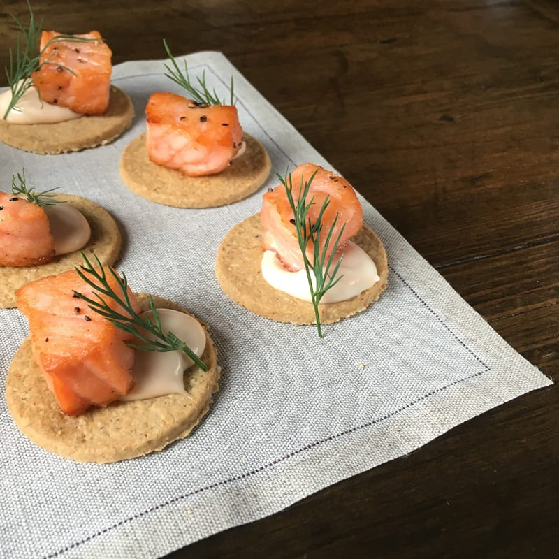 Seared Salmon with Whisky Mayonnaise Oatcakes