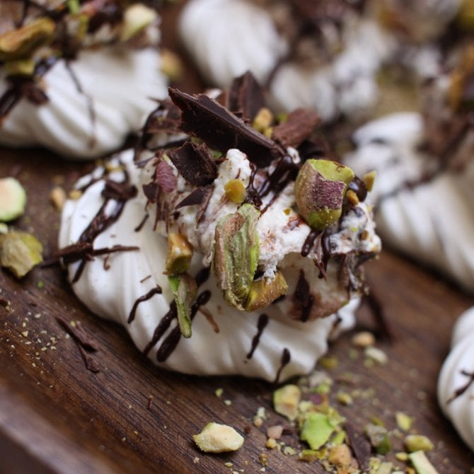 Meringues with Salted Pistachio & Dark Chocolate