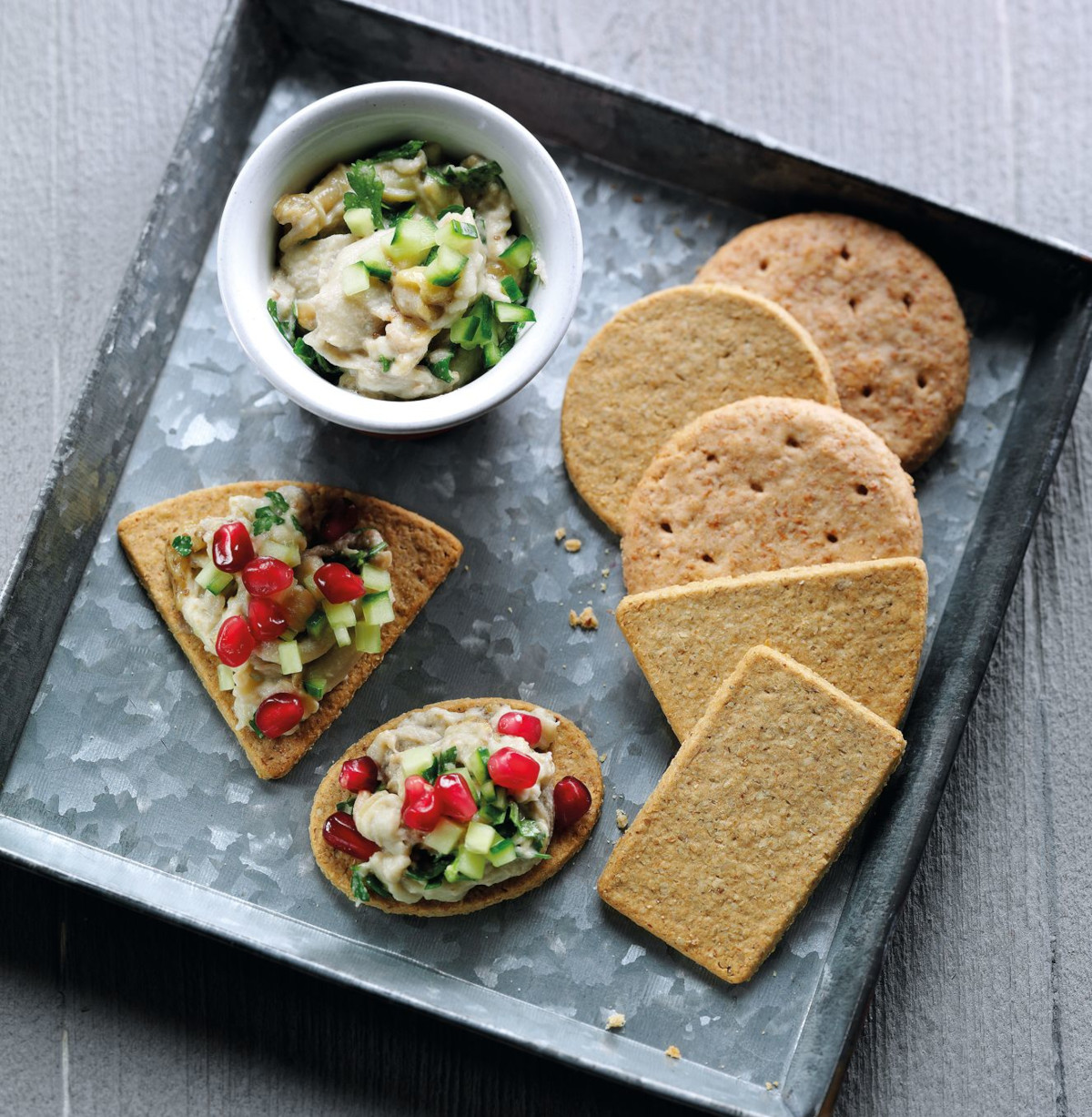Blackened Eggplant, Tahini & Pomegranate Oat Crackers