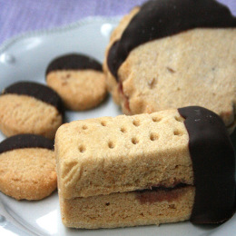 Chocolate Dipped Shortbread Sandwich Cookies