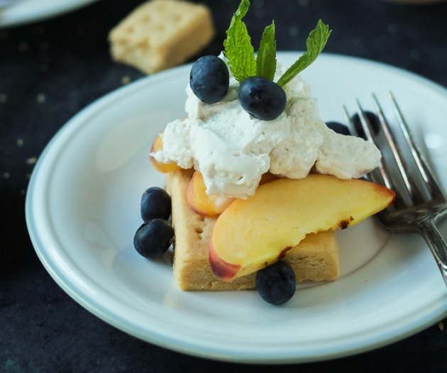 Grilled Peach Shortcake with Coconut Whipped Cream
