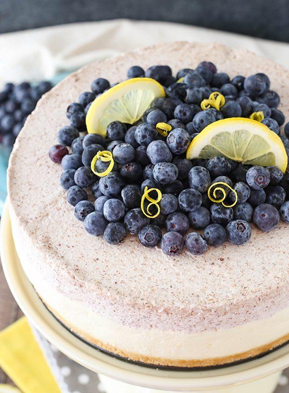 Lemon Blueberry Shortbread Mousse Cake