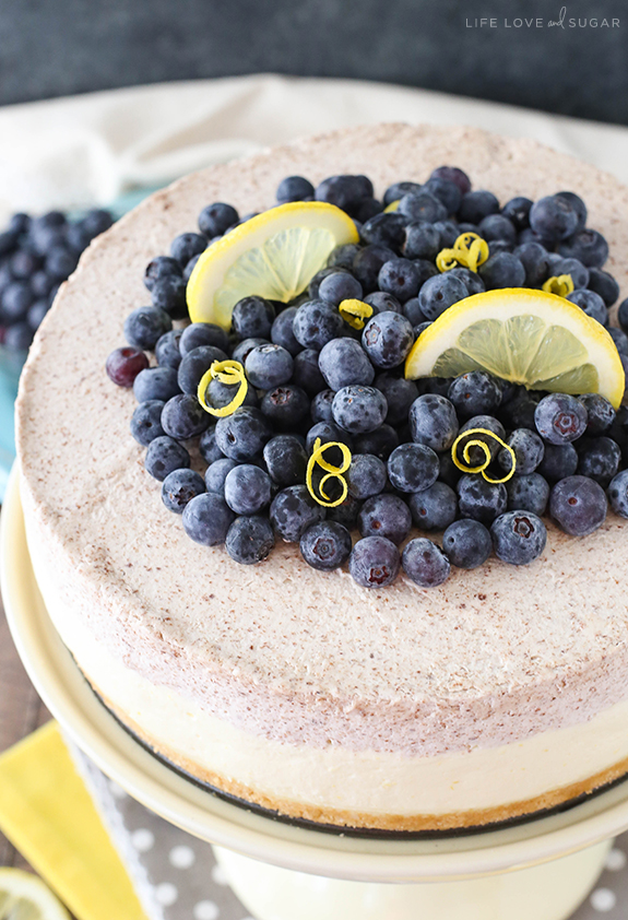 Lemon Blueberry Shortbread Mousse Cake