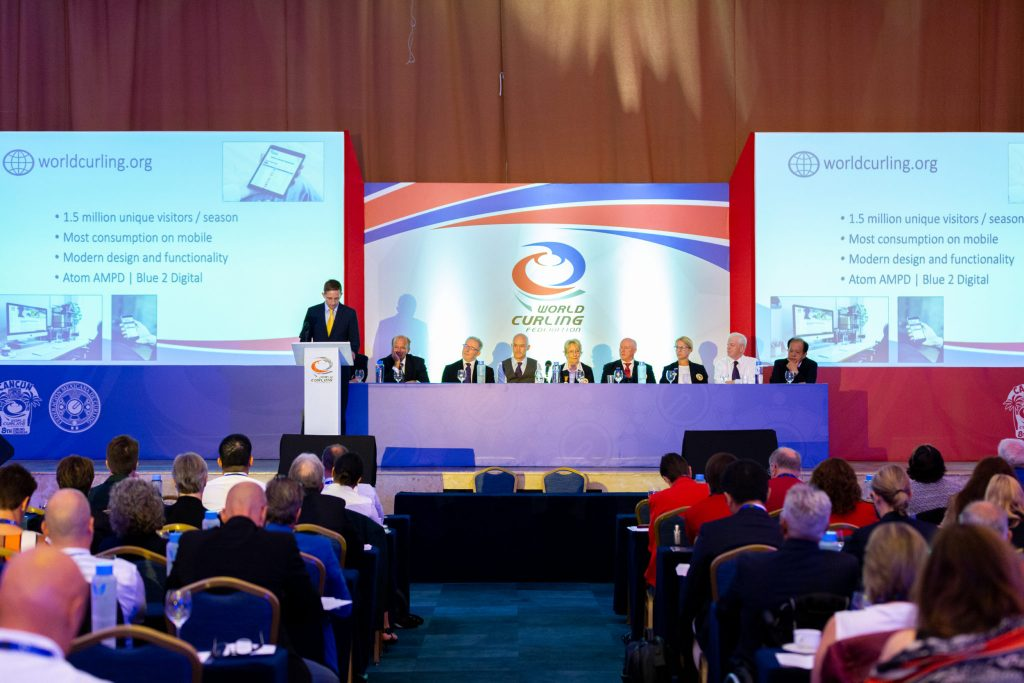 The Annual General Assembly at World Curling Congress 2019 in Cancun, Mexico. © WCF / Christopher Hamilton