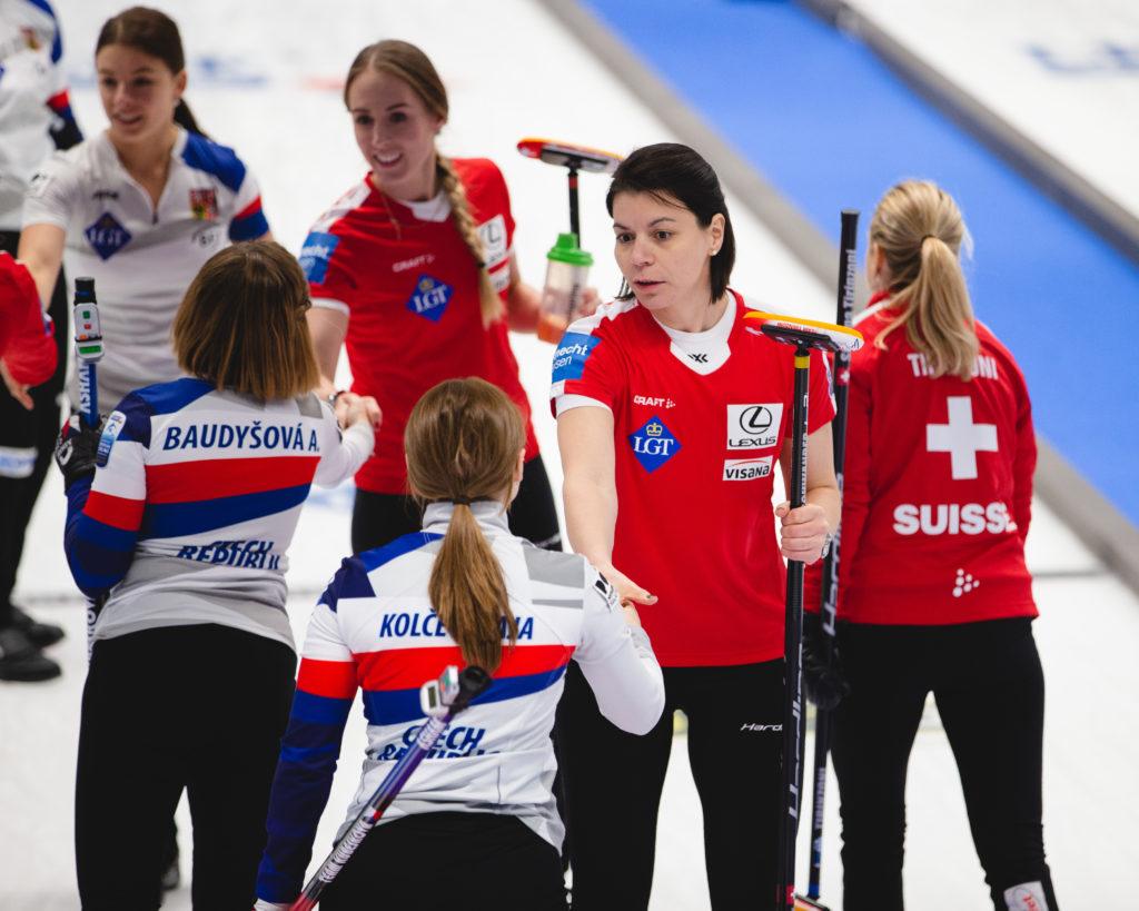 Alzbeta Baudysova, cze, Esther Neuenschwander, Melanie Barbezat, Petra Vinsova, sui © WCF / Celine Stucki