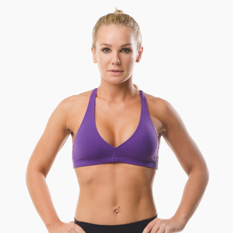 Abi Racer-back Sports Bra Top Purple Pout Front