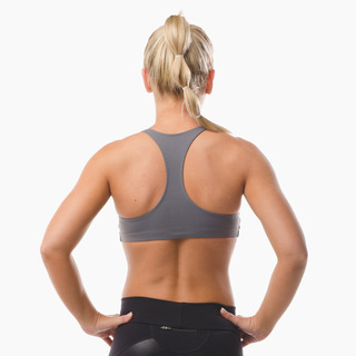 Abi Racer-back Sports Bra Top Storm Grey Back