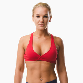 Emi Cross-back Sports Bra Top Extreme Red Front