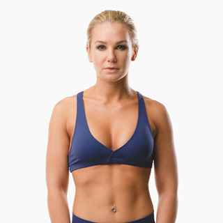 Emi Cross-back Sports Bra Top Midnight Blue Front