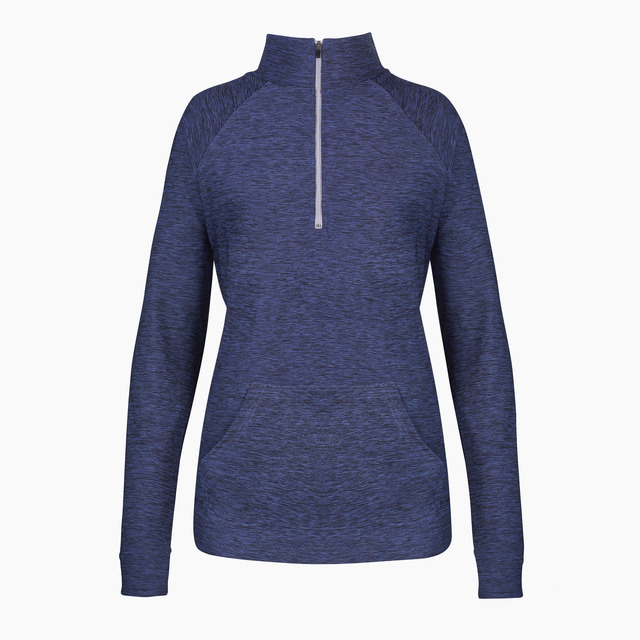 Amy Navy Marl Zipped Long Sleeved Top