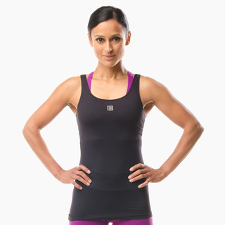Erin Performance Vest Top Jet Black Front