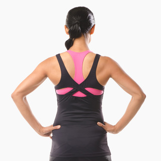 Erin Performance Vest Top Jet Black Back