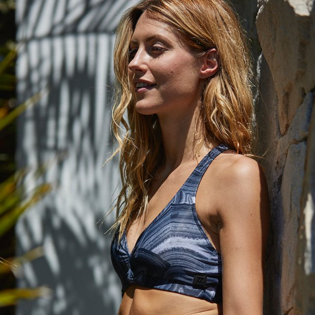 Aurora Grey Marble Padded Sports Bra