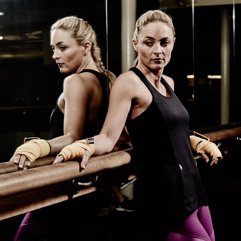 Alana Jet Black Racer-back Fitness Vest