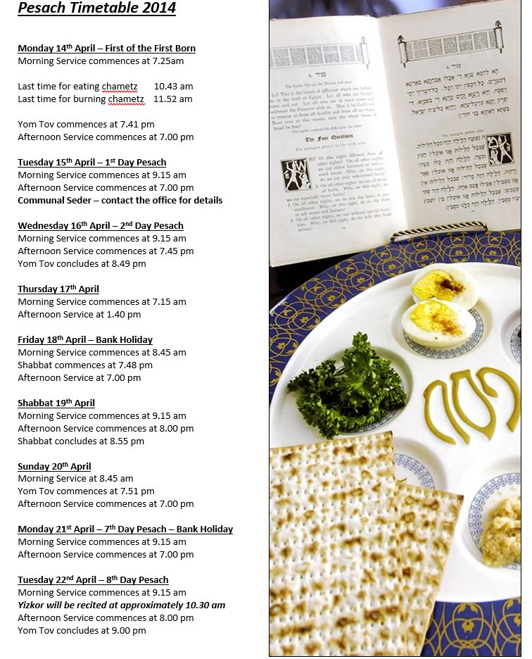 Pesach Timetable
