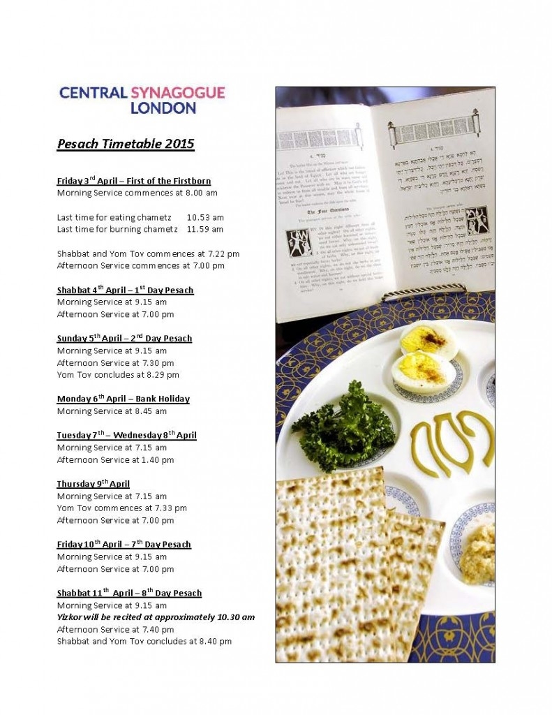 pesach timetable 2015