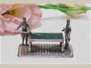 """Zilveren miniatuur """"Biljart met 2 personen"""", gemer"""