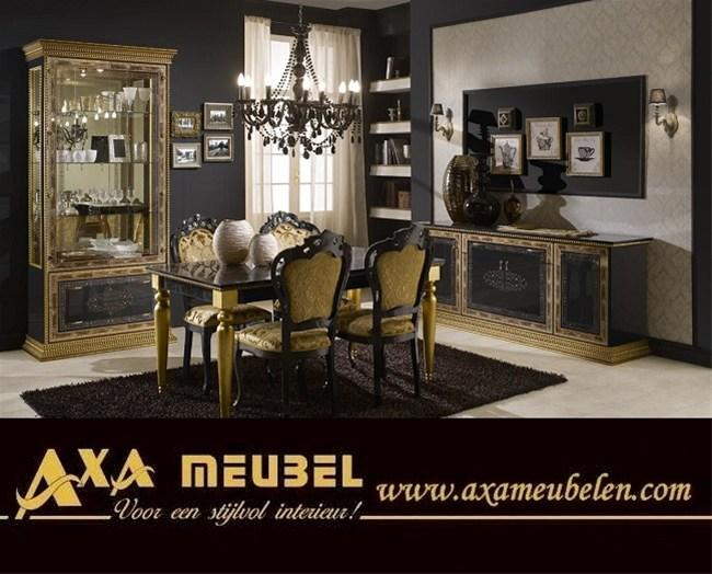 Italiaans Barok Hoogglans Zwart Goud Woonkamer Woiss Meubels