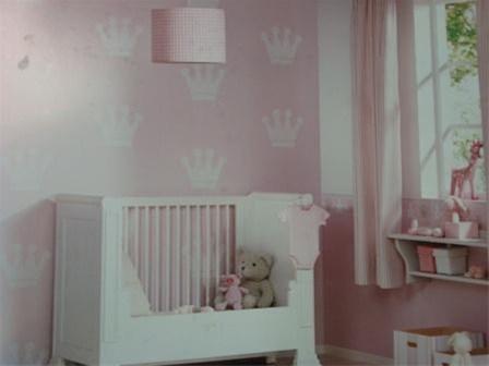Babykamer Behang Sterren : Roze wit croontjes baby meisjes behang
