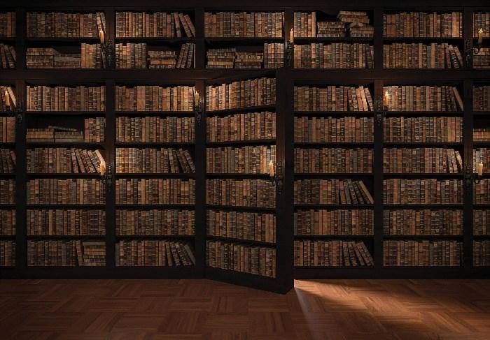 Boeken Kast Met Deur Fotobehang Bibliotheek Behang