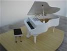 Miniatuur vleugel/piano met krukje en echte snaren HANDMADE