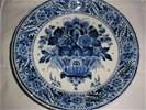 Delfts blauw bord - bloemen - ram