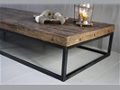 *Verkocht Salontafel oud hout met ijzeren onderstel 220 cm