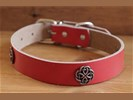 "Leren hondenhalsband "" Celtic knoop "" Rood"