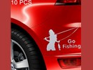 10 PCS Beauty Go Fishing Styling Reflective Car Sticker