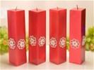 Kwadrant kaarsen, ROOD METALLIC AP, hoogte 22 cm, 4 STUKS -