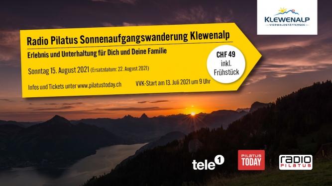 Radio Pilatus Sonnenaufgangswanderung Talstation Emmetten - Klewenalp Vierwaldstättersee Beckenried Billets