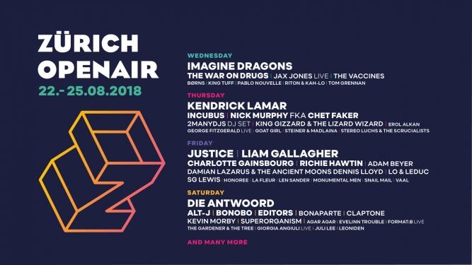 ZÜRICH OPENAIR 2018 Festivalgelände Glattbrugg Biglietti