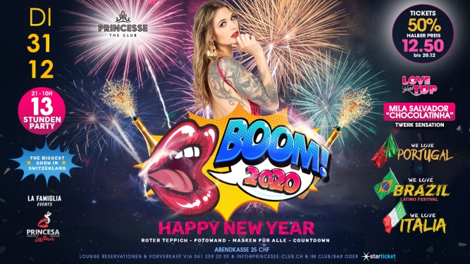 Boom! 2020 - New Years Party Princesse the Club Luzern Tickets