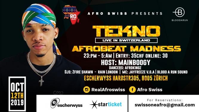 Tekno live in Switzerland Escherwyss Zürich Tickets