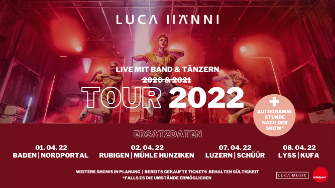 Luca Hänni & Band Mühle Hunziken Rubigen Tickets