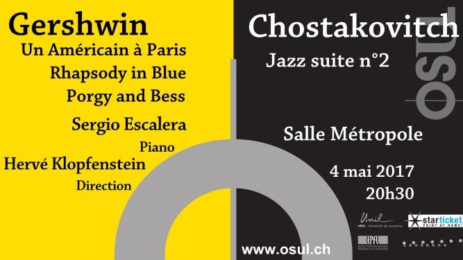 Rhapsody in blue, Porgy and Bess, Un américain à Paris, Jazz suite n°2 Salle Métropole Lausanne Billets