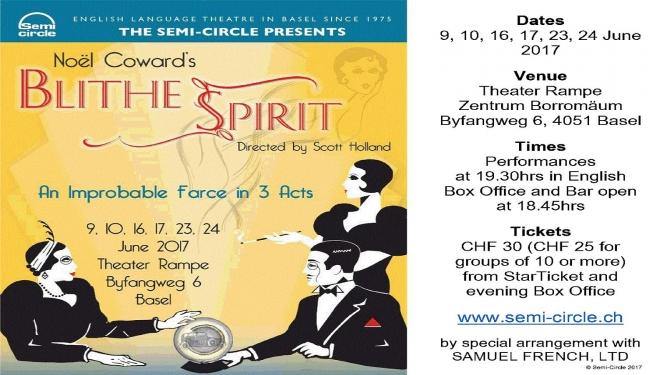 """Blithe Spirit"" by Noël Coward Theater Rampe, Zentrum Borromaeum Basel Tickets"
