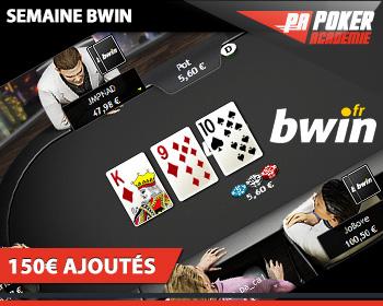 bwin poker academie tournoi 150€ ajoutés freeroll