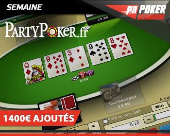 semaine partypoker poker academie nouveau logiciel 1400€ ajoutés