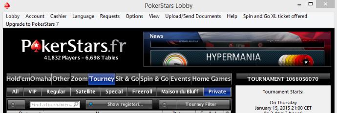 pokerstars poker académie chemin lobby tournoi