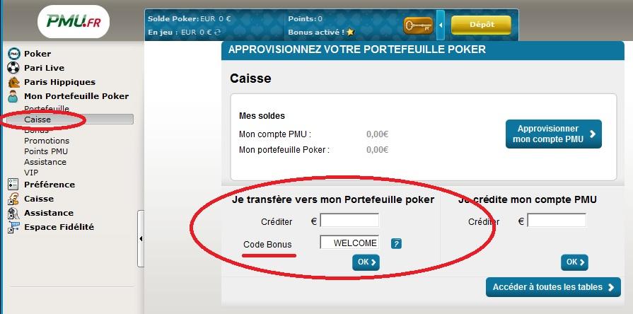 Code bonus portefeuille poker pmu hotel gruissan proche casino