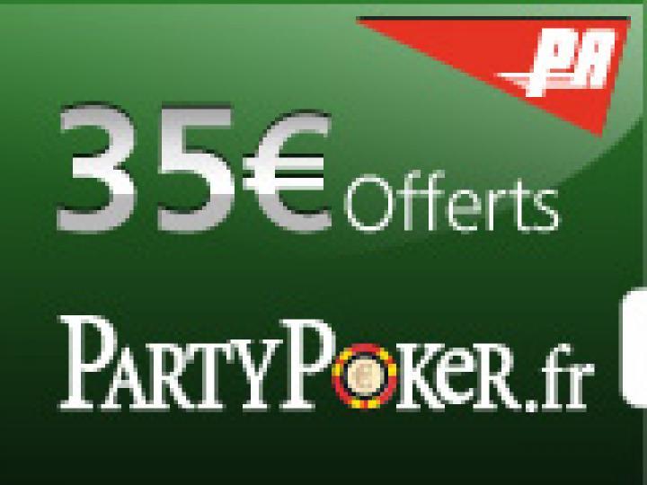 35€ offerts sans dépôt sur Party Poker