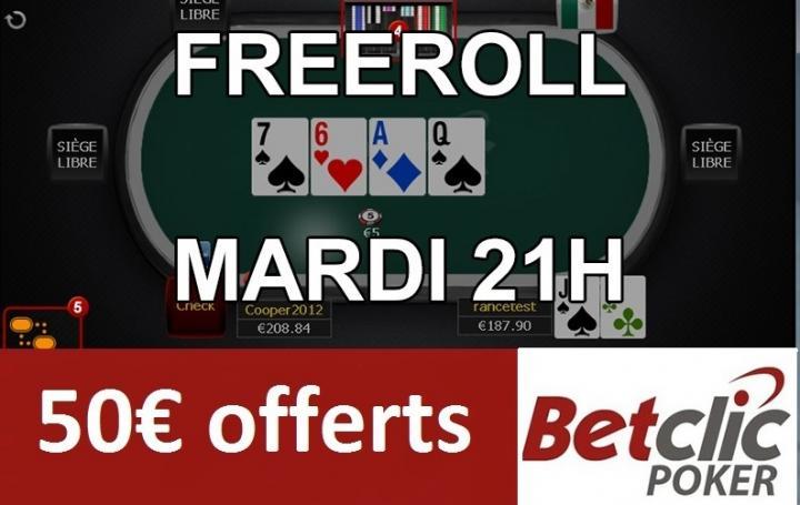 Freeroll mardi soir sur Betclic - 50€ de tickets ajoutés