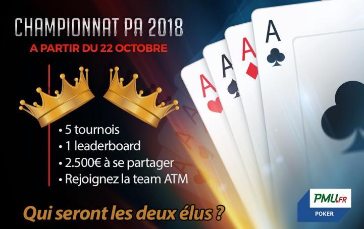 Championnat PA 2018 : 5 tournois, 2 élus